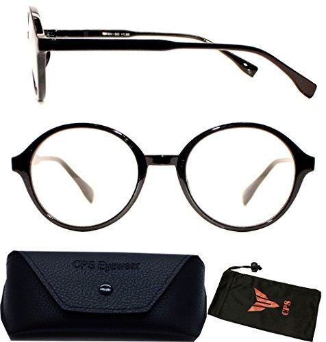 (#VR01 P2 Blk) Men And Women Round Plastic Reading Glasses Black & Brown Color Frame (Strength : +2.00)