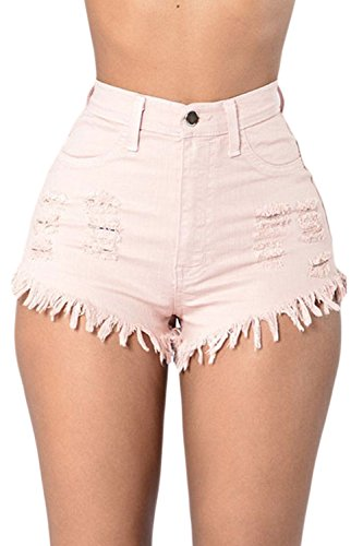 Un Coup Hot Club Jeans Pantalons En Des Pink Denim Beach Maigre Court FBCqwHF