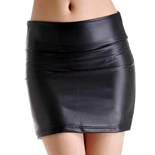 Taille Noir Robe Jupe Femme Sexy LSERVER Simili lastique Cuir Mat Mini Haute YqgTx6AwH