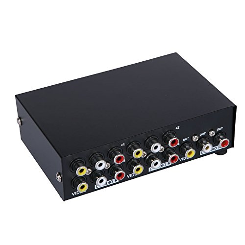 E-SDS 4-Way AV Switch RCA Switcher 4 in 1 Out Composite Video L/R Audio Selector Box for DVD STB Game Consoles ()