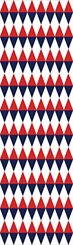 Americana Decor 3D Decorative Film Privacy Window Film No Glue,Frosted Film Decorative,Half Triangles Diamond Shapes Retro Navy Inspired Art Print Decorative,for Home&Office,23.6x59Inch Red Dark Blue