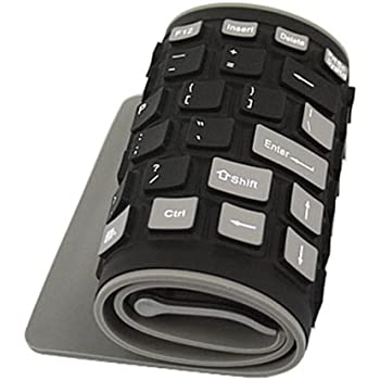 HDE Roll Up Wireless Keyboard Spillproof Silicone Portable Folding Keyboard Silent Typing Soft Touch Keys with USB Receiver