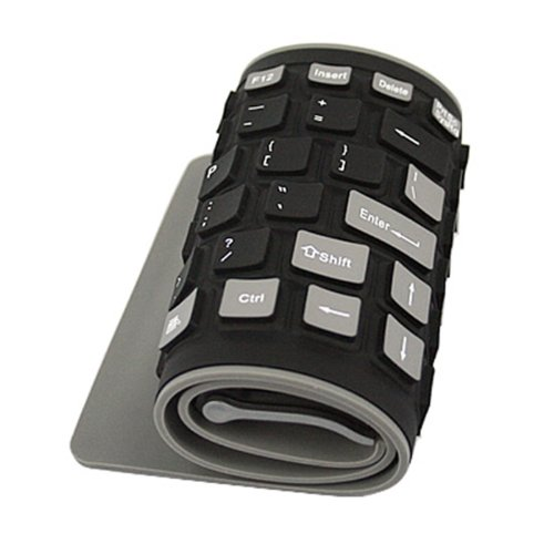 HDE Roll Up Wireless Keyboard Spillproof Silicone Portable Folding Keyboard Silent Typing Soft Touch Keys with USB ()
