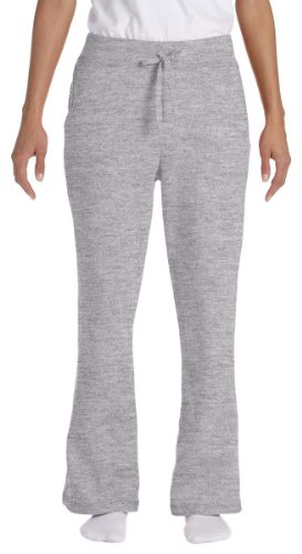 Cotton Sweatpants Blend (Gildan womens Heavy Blend 8 oz. 50/50 Open-Bottom Sweatpants(G184FL)-SPORT GREY-XL)