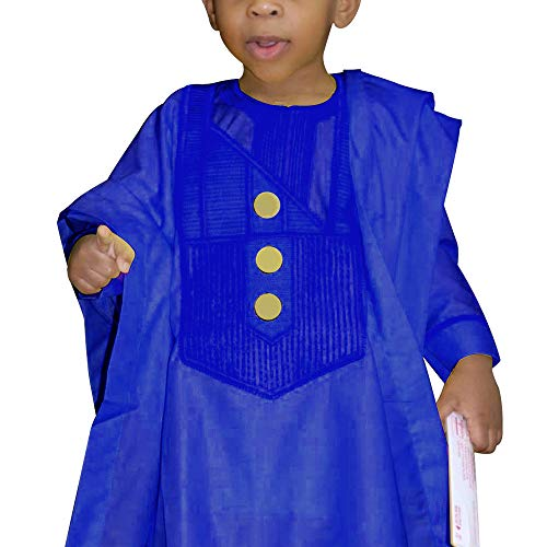 HD Kids African Clothing Embroidery Agbada Top Dashiki Shirt and Pants Set 3 Pieces for Boy,Blue 3XL
