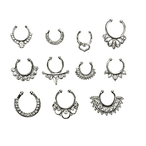 Maggie 11Pcs Fake Septum Clicker Nose Ring Rhinestone Non Piercing Hanger Clip Body Jewelry