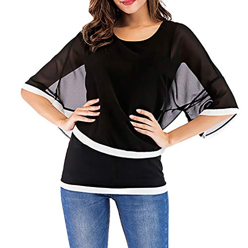 Cewtolkar Women Blouse Summer Tops Chiffon T Shirt Bell Sleeve Tunic Pullover Tees O Neck Shirt Skinny Top Black