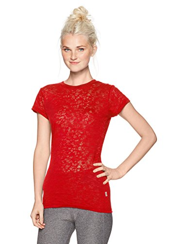 Soffe Women's Juniors Burnout Crew Neck Shirt, red, Large