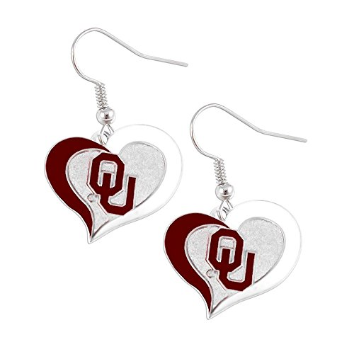 NCAA Oklahoma Sooners Swirl Heart Earrings