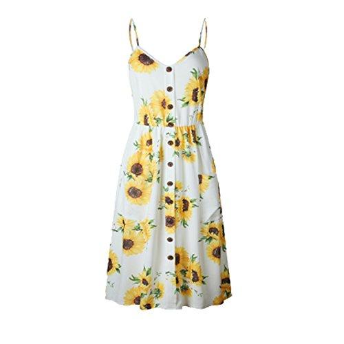 Les Robes D'été Bouton Floral Sangle Spaghetti Bohème Femmes Yrsink Balancer Vers Le Bas Avec Des Poches Midi Robe (type 1) (m)