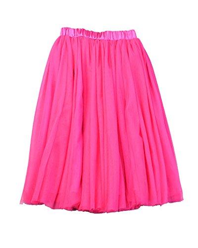 Falda Danza Ballet Larga En Rose De Mujer Tul Capa Para Skirt lìnea A Princesa 5 Midi Cintura Tutú Elástica r4fnr