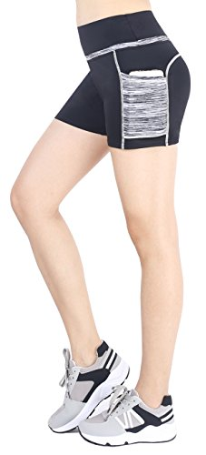 Sugar Pocket Women's Workout Shorts Running Tights Yoga Short Pants XL(Black/Grey)