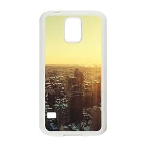Samsung Galaxy S5 Cell Phone Case White Urban Sunrise City Skyview SU4557856