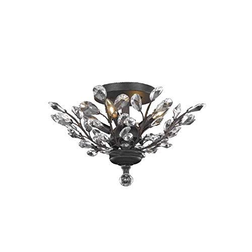 Elegant Furniture Orchid 4 Light Dark Bronze Flush Mount Clear Royal Cut - Orchid 4