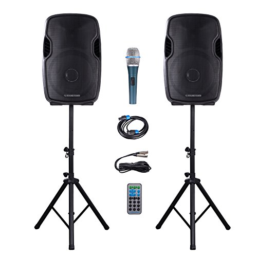 Sound Town Portable 15-inch 2-Way Powered PA Speaker System Combo Set with Bluetooth/Onboard Equalizer/USB/SD Card Reader/LED Light/1 Mic/2 Speaker Stands (DEIMOS-15PSC) by Sound Town