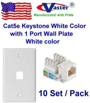 Vastercable Cat5e Punch Down Keystone Jack White Color with 1port Rj 45 Keystone Wall Plate White Color 10 PCS//Pack