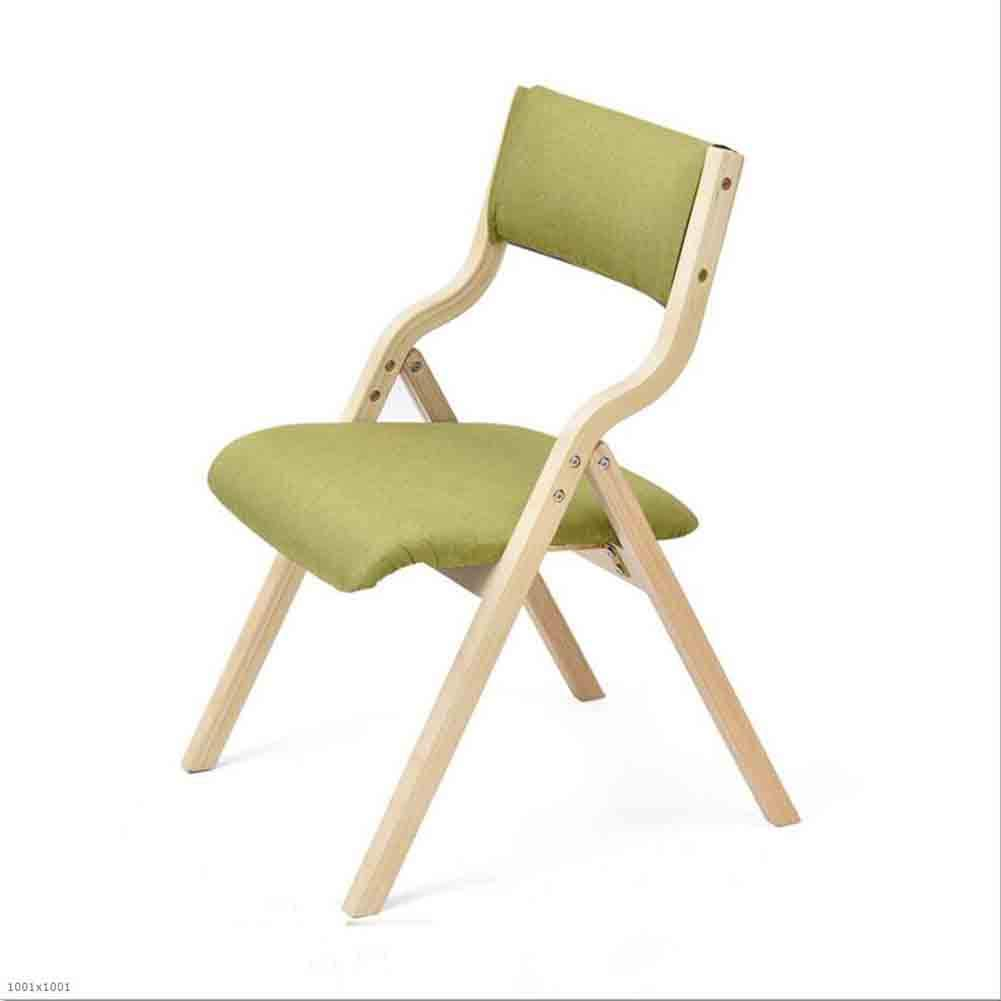 Matcha color LBYMYB 2 Sets of Wooden Folding Chair Soft Cloth Pad Dining Table and Chair Chair (color   Stripes)