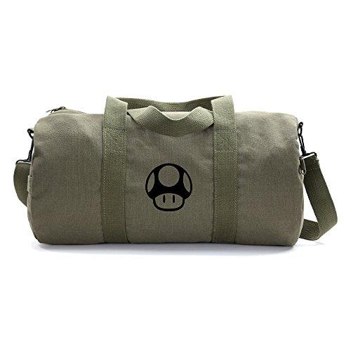 Cheap Mario Bros 1up Mushroom Army Heavyweight Canvas Duffel Bag in Olive