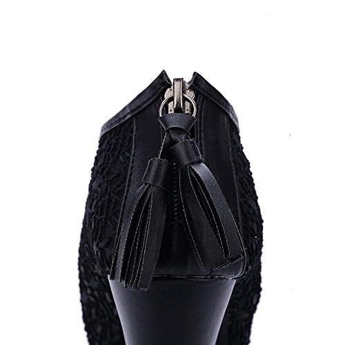 Black Peep Heel Womens Toe Heels Pumps High Solid Lace VogueZone009 Tassels Chunky Open with qOAxtE