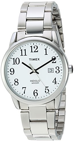 Timex Men's TW2R23300 Easy Reader Silver-Tone/White Stainless Steel Bracelet (Timex Stainless Steel Wrist Watch)