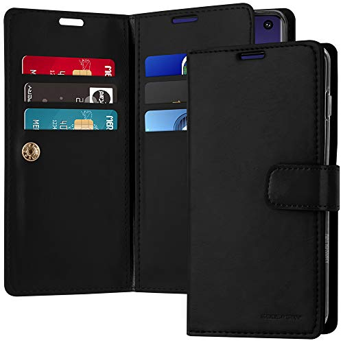 Galaxy S10 Case [Double Sided Wallet Case] GOOSPERY Mansoor Diary [Extra Card & Cash Slots] Premium PU Leather Flip Cover (Black) S10-MAN-BLK