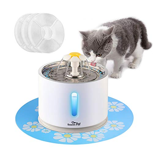 Cat Water Fountain Stainless Steel, Intelligent Power Off 81oz/2.4L Automatic Pet Fountain Dog Water Dispenser with 3 Replacement Filters & 1 Silicone Mat for Cats, Dogs, Multiple Pets (with Flower) (Fountains Pet Cats For Ceramic)