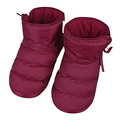 Clobeau Women's Slipper Boots Winter Warm Home Down Bedroom House Slipper Bootie Shoes Red Size: 6-7