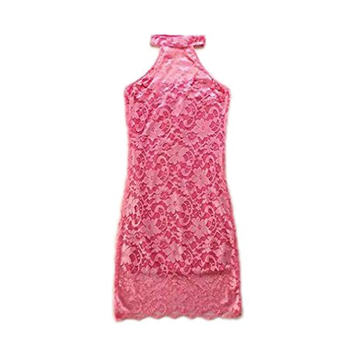 CAUSAL STYLE CAUSAL LIFE sexy nightclub party dress women fashion backless robe white lace sleeveless halter dresses pink (Dillards Robes)