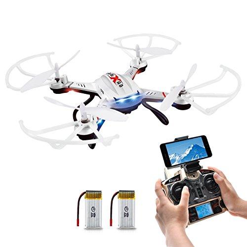 Potensic 2 4GHz 4CH 6軸ジャイロ ドローン iPhone&Androidで生中継可能 高度維持 720P空撮カメラ 日本語取り扱い説明書 バッテリー2個付 クアッドコプター マルチコプター 360°宙返り モード1/2自由転換可 国内認証済み F181WH(ホワイト)