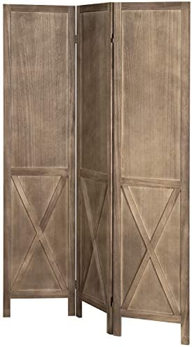 MyGift 3-Panel Burnt Wood Barn Door Style Room Divider with Dual-Action Hinges
