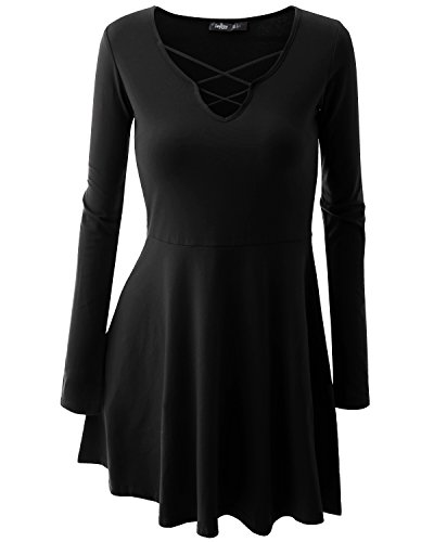 JayJay Women Crisscross Neck Semi Stretchy Black Casual Flare Dress,XX-Large (80s Womens Fancy Dress)