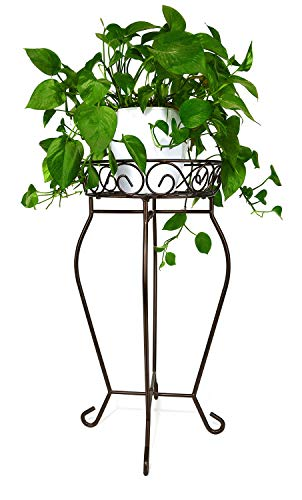 Yimobra Tall Plant Stand Metal Flower Pot Holder Large Rustproof Iron Garden Container Heavy Duty Rack for Planter High Supports Indoor Outdoor 12.5 X 23.6 Inches Bronze, Brown (Holder Flower Pot Iron Wrought)