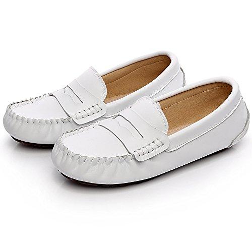 del Barco Talla Blanco Jamron Cuero Dedo Ancho Grande Verano Hombres Mocasines Comodidad Zapatos wqSPqv1x