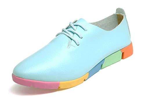 Kunsto Womens Leather Casual Oxford Shoes (UP To 60% Off) Blue