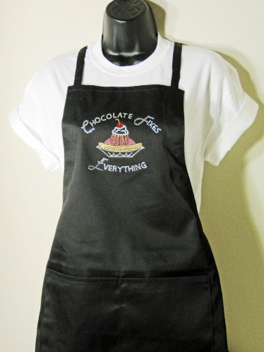 Shimmery Rhinestone Black Apron-'Chocolate Fixes Everything'- No Sales Tax