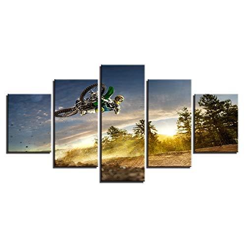 a la venta Frame 20x35 20x45 20x55cm BAIF 5 Unidades Unidades Unidades Lienzo de Pintura HD Lienzo Sala de EEstrella Moderno Cochetel de la Decoración Casera 5 Panel Sunrise Motocicleta Cocherera Paisaje D Imágenes Marco de la Pintura de Parojo  alto descuento