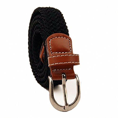 Kids Shcool Elastic Braided Belts For Boys Girls With Buckle Black/Brown/Blue (Older 5t/ 85cm, Black)