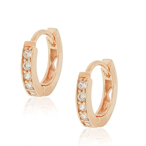 925-Sterling-Silver-White-CZ-Small-Girls-Hoop-Huggie-Earrings