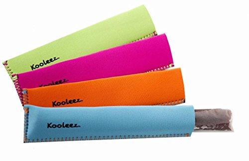 Kooleez - #1 THE ORIGINAL Neoprene Freezer Pop/Ice Pop Insulator Sleeves 4-pack - Neon