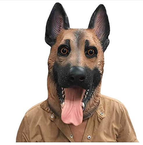 Dog Head Latex Mask Full Face Adult Mask Breathable Halloween Masquerade Party Cosplay Costume Lovely Animal Mask (Black) -