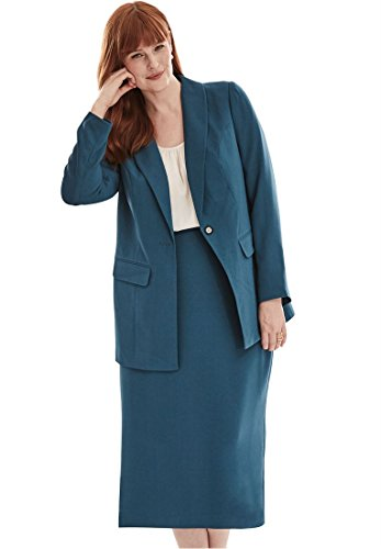 Jessica London Plus Size 2-Piece Single-Breasted Skirt Suit in Polyester Crepe (Exotic ()