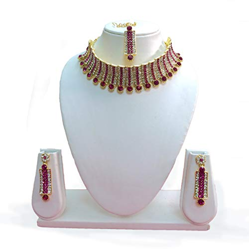 (CROWN JEWEL Indian Designer Bollywood Gold Plated Fashion Bridal Jewelry Necklace Earring Set for Women (Pink))
