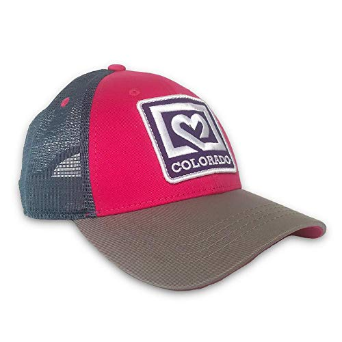 Colorado Limited Lo Pro Trucker Hat (Pink Heart) Unisex Mesh Back Cap with Adjustable Fit for Ultimate Comfort & Style