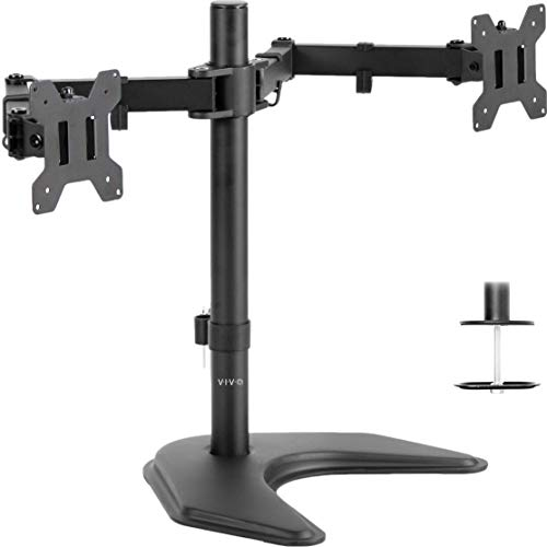 VIVO Dual LED LCD Monitor Free-Standing Desk Stand for 2 Screens up to 27 inches | Heavy-Duty Fully Adjustable Arms with Optional Bolt-Through Grommet Mount (STAND-V002F) 15 Degree Adjustable Wrenches