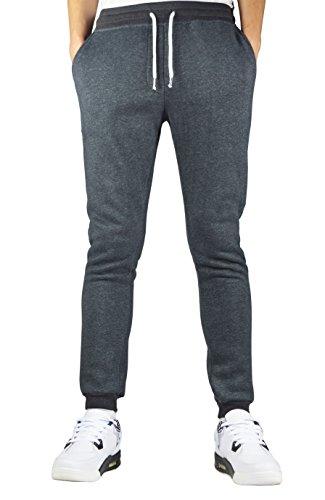 Men's Winter Drawstring Cotton Heathered Jogging Sweatpants (s, deep_grey)