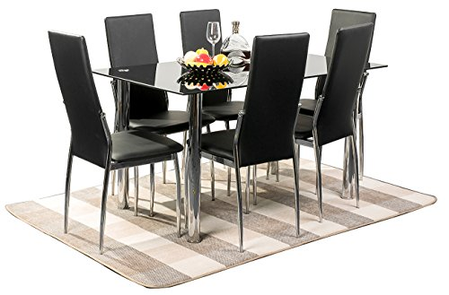 MeraxR 7PC Glass Top Dining Set 6 Person Dining Table And Chairs