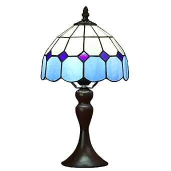 Bieye L30041 Lámpara de mesa estilo mediterráneo de Tiffany, lámpara de mesa, luz de noche, con 8 pulgadas de ancho Mar Azul Lámpara Pantalla de metal ...