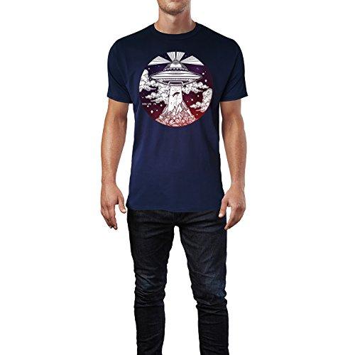 SINUS ART ® Ufo, das einen Menschen entführt Herren T-Shirts in Navy Blau Fun Shirt mit tollen Aufdruck
