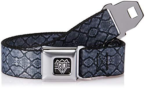 Buckle-Down Men's Seatbelt Belt Snake Skin Kids, Charcoal/Black, 1.0