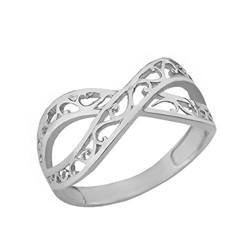 (Women's 10k White Gold Forever Filigree Infinity Ring (Size 9) )